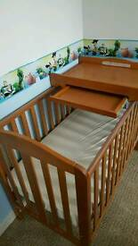 Babycot, mattress and changing table