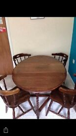 Solid twist leg country table + 4 chairs