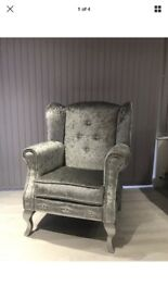 Silver crushed velvet Wing chair