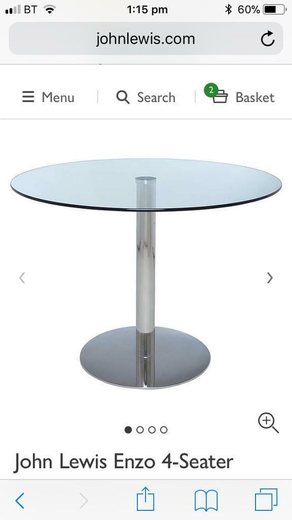 John Lewis 4 seater glass round dining table