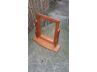 brown wood framed dressing table mirror on stand