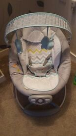 Unisex baby bouncer with vibrate and music