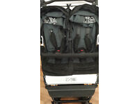 Mountain Buggy Duet, black, 63cm wide, side-by-side twin with raincover