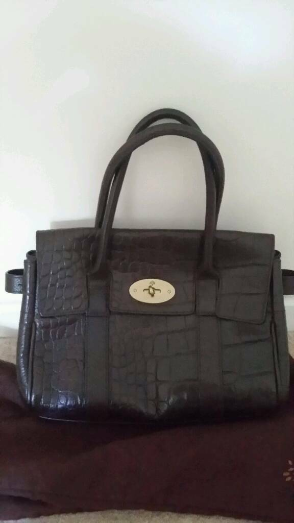 Mulberry Dark Brown Moc Croc Ledbury Handbag Small Bayswater