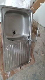 Stainless steel kitcen sink, drainer and taps