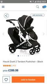 2 months old Hauck Duett 2 Tandem Pushchair in Black