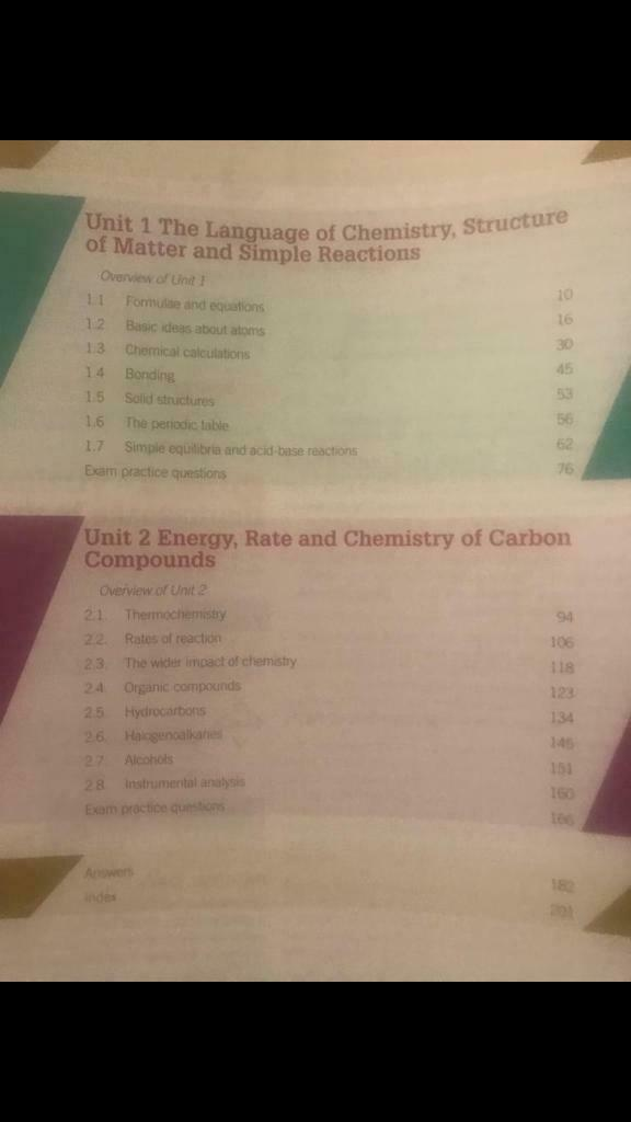 Wjec chemistry book As level covers unit 1 & unit 2 | in