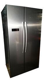 Hisense RS731N4AC1 American Fridge Freezer, Stainless Steel Look