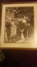Sepia Victorian cottage scene framed picture