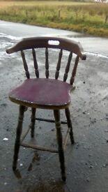 Character oozing vintage oak bar stool i