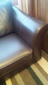 Leather sofa x 2 . 3 Seater sofa bed + 2 seater sofa .M & S brown leather good condition.