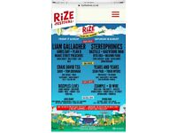 2xWeekend Camping Rize Festival Tickets (Thu-Sun) Face Value