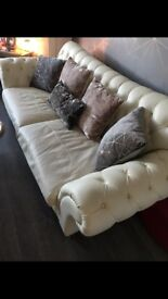 Leather sofa chair and chaise