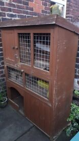 Handmade 3 tier guinea pig hutch for sale - insulated bedroom area, ramps to other level, storage.