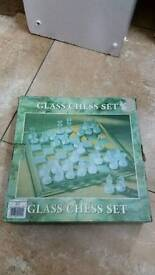 Glass chess set as new in box