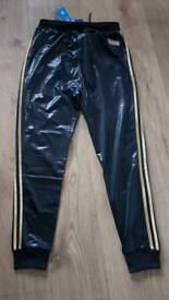 Adidas Chile 62 black and gold tracksuit bottoms in Medium and Large