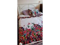 White metal frame double bed good condition URGENT SALE NEEDED