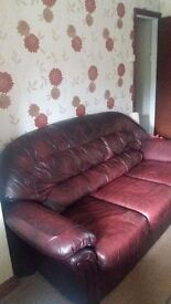Genuine leather 3 seater settee and 2 manual reclining armchairs - good condition
