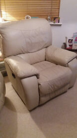 1 cream leather electric recliner armchair for sale