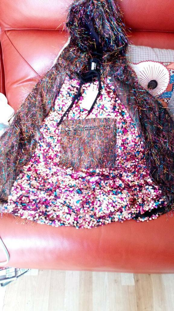 Ladies sequin hoodie top from top shop never worn any size