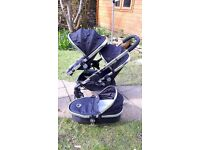 iCandy Peach double pushchair in Black Magic + extras