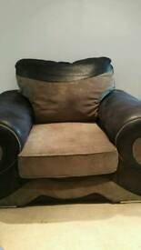 Big comfy brown + black leather + material chair