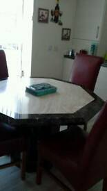 Marble table with 4 chairs