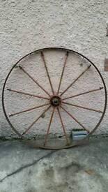 Vintage antique metal cartwheel 12 spoke 47in diameter