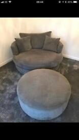 Swivel cuddle chair and foot stool