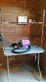 Dog grooming table and fur dryer