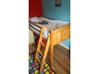 Single Mid-Height Cabin Pine Bedframe with ladder, suitable for kids bedroom