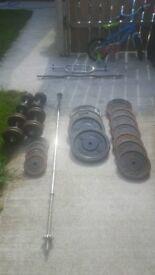 gym equipment cast iron weights dumbells barbell plates 230kgs