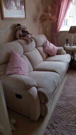 Recliner sofa & chair Cream