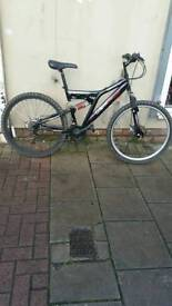 "Black Dunlop Dual Suspension Mountain Bike, 26"" Wheels, 18 Speed, 19"" Frame"