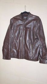 Mens Marks and Spencer Dark brown heavy quality Biker style leather jacket, Medium