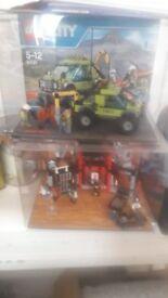 LEGO 2X DISPLAYS CITY, AND NINJARGO.