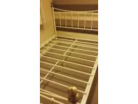 For Sale White Metal Double Bed Frame with Brass Posts