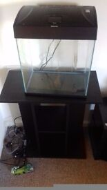 28 litre fish tank with stand good condition fish tank is only 6 months old stand is brand new