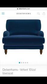Navy Blue Velvet Loveseat - Brand New Debenhams