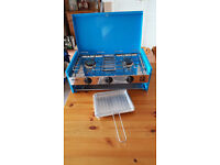 Camping stove.(2 burner and grill) + gas bottle.