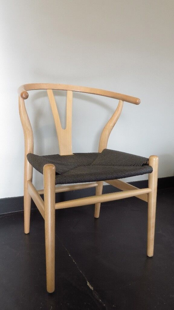 danish design wishbone chairs natural black seat bought from cult