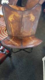 Leather butterfly chair