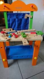 Compact wooden toolbench workbench toy for toddler or preschooler