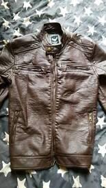 Brave Soul brown faux leather jacket