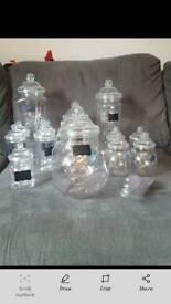 Set of plastic sweet jars