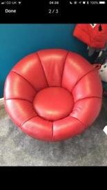 Lee longlands red leather swivel armchair