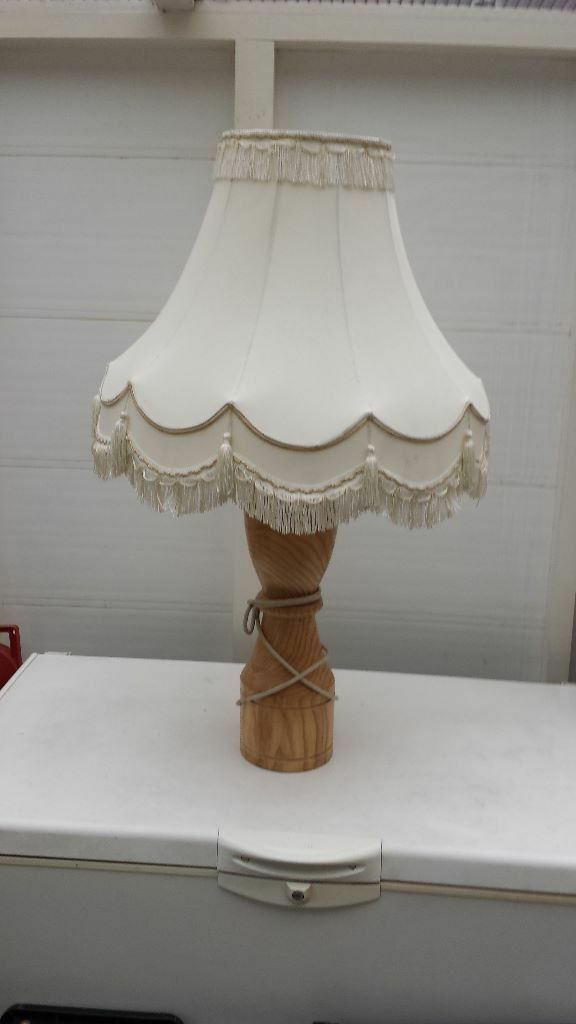 Very Large And Heavy Wooden Lamp With White And Gold