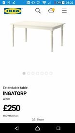 IKEA INGATORP table with 2 chairs and bench