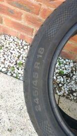 2 x continental run flat Tyres 245 45 R18