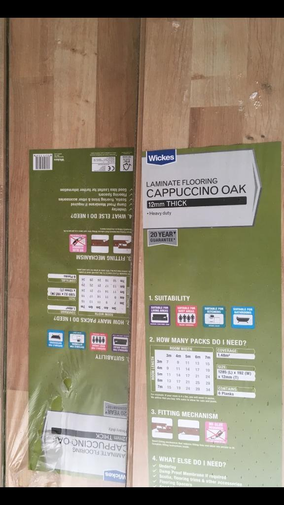 10 Packs Of Wickes Laminate Flooring Cappuccino Oak New Sealed